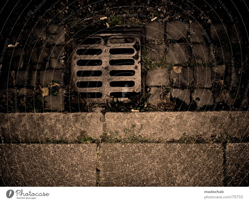 PLAN B Gully Dark Brown Town Drainage Curbside Creepy Trashy Gloomy Curbstone Eerie Ghostly Exceptional Gutter Sewer Work and employment Things Transport
