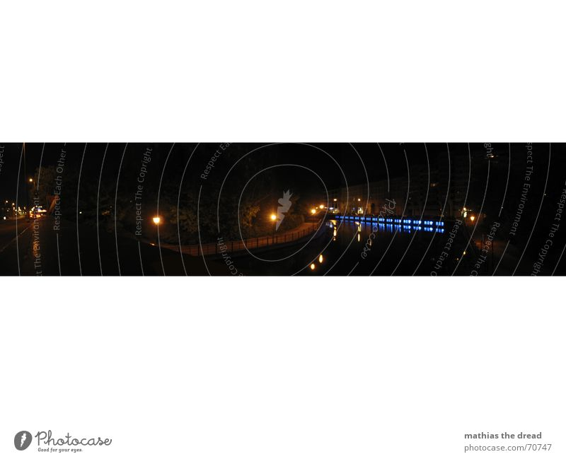 Water Blue Black Dark Berlin Coast Large Bridge River Mysterious Panorama (Format) Spree Night light