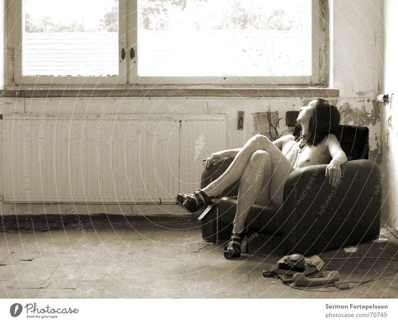 Woman Nude photography Loneliness Feminine Window Eroticism Naked Broken Grief Factory Decline Ruin Chain Distress Heater Armchair