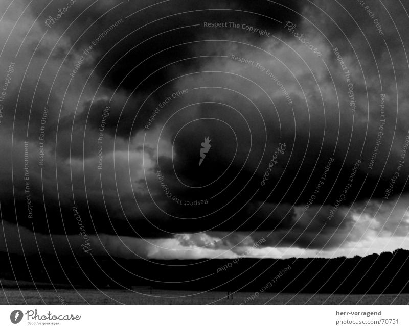 Dark Sky Field Clouds Light Black White