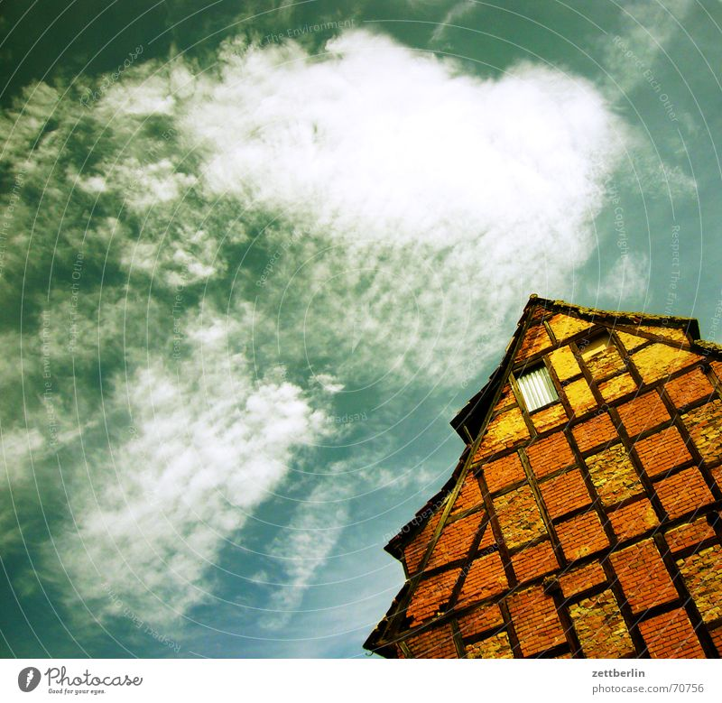 Aschersleben Clouds Cirrus House (Residential Structure) Half-timbered house Roof Gable Window Summer Sky Sun aschersleben Construction Wooden rack Architecture