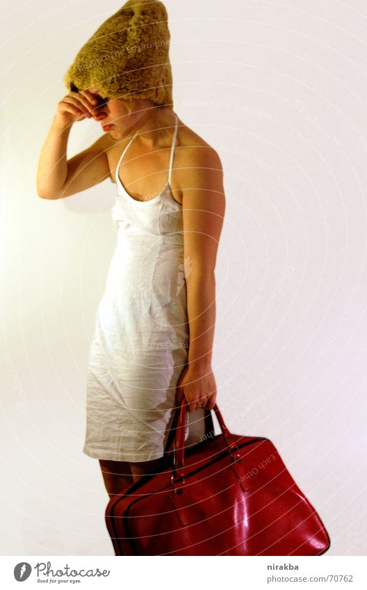 Woman White Red Shopping Bag Completed Heavy Curved
