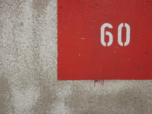 60 Red Wall (barrier) Wall (building) Concrete Digits and numbers sixty
