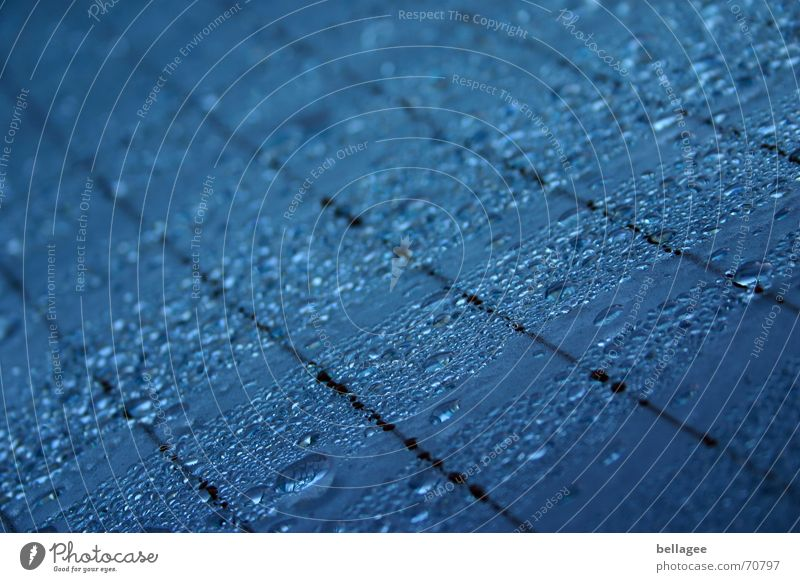 Blue Water Black Line Rain Car Drops of water Rope Window pane Rear Window