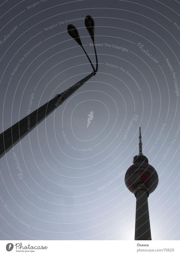 dissimilar journeymen Silhouette Lantern Lamp post Alexanderplatz Middle Sky Sun Electricity pylon Tower Berlin TV Tower alex Capital city