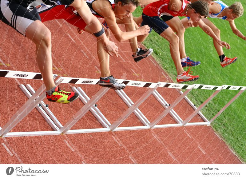 downhill Hundred-metre sprint Stadium Track and Field Tartan Man Leisure and hobbies Sporting grounds Triathlon Barrier Walking Resume spikes 110m Runner Sports