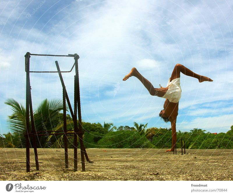 capoeira Lifestyle Exotic Leisure and hobbies Vacation & Travel Summer Dance Sports Fitness Sports Training Martial arts Human being Masculine Dancer Sky Clouds