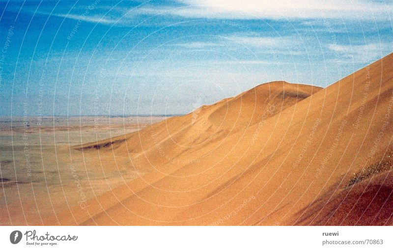 Dune 7 Far-off places Freedom Environment Nature Earth Sand Sky Desert Thin Hot Dry Brown Yellow Walvis bay Namibia Africa Badlands Heat Beige wide Beach dune