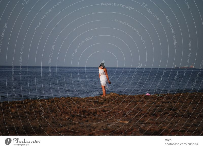 Human being Woman Vacation & Travel Youth (Young adults) Young woman White Ocean Loneliness Calm Far-off places Beach 18 - 30 years Adults Feminine Coast