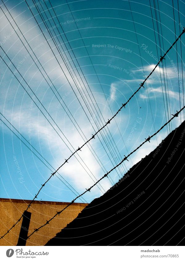 Sky Blue Clouds Yellow Style Lanes & trails Building Line Orange Broken Mysterious Division Illustration Captured Divide Transmission lines