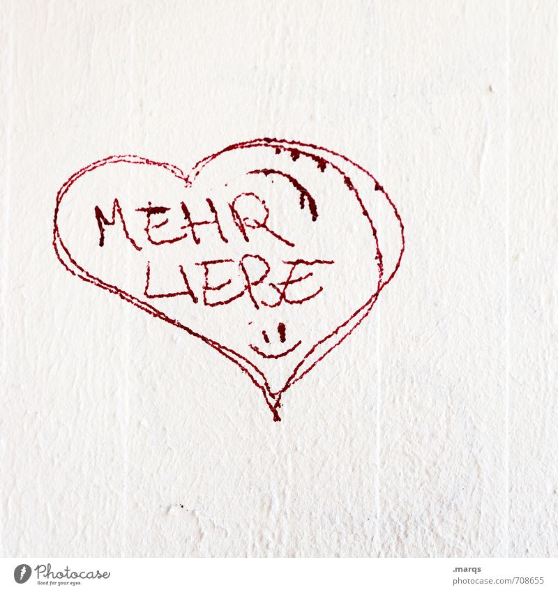 herz.haft | More Lifestyle Elegant Style Subculture Wall (barrier) Wall (building) Sign Characters Heart Simple Uniqueness Red White Emotions Happy Sympathy