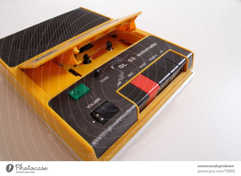 Old Yellow Retro Music Loudspeaker Tape cassette Pop music Old-school Volume Portable Pop culture