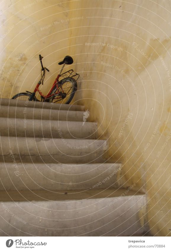 bicycle Yellow Wall (building) Parking lot Concrete Bicycle Visitor Stairs Russet concrete staircase Old Wait