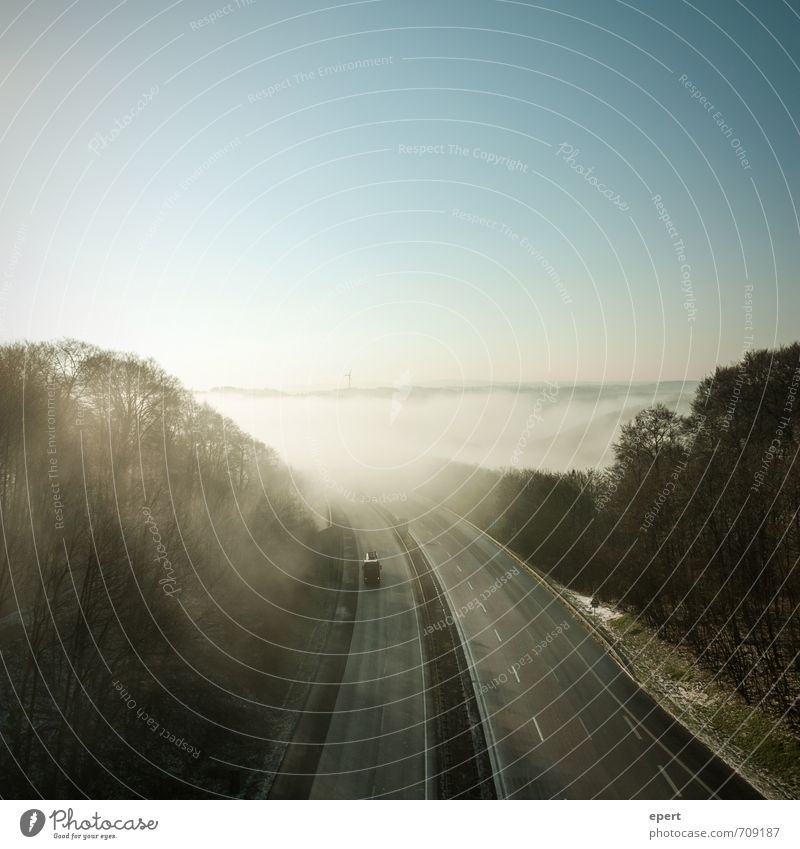 Road to Sauerland Nature Landscape Horizon Sunlight Fog Forest Hill Mountain Traffic infrastructure Street Lanes & trails Highway Vehicle Truck Free Infinity