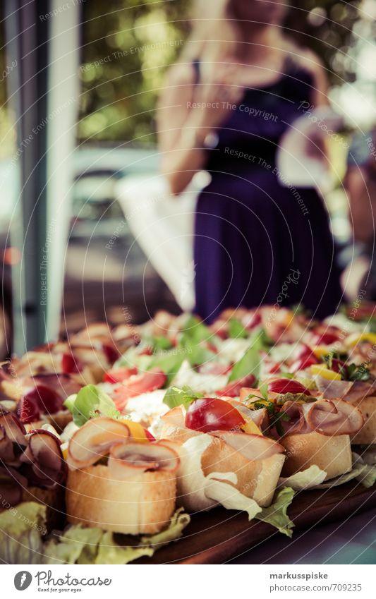 snack party Food Buffet Brunch Banquet Slow food Finger food Part Sandwich Baguette Tomato Lettuce Sausage sandwich Lifestyle Luxury Elegant Joy Party Event