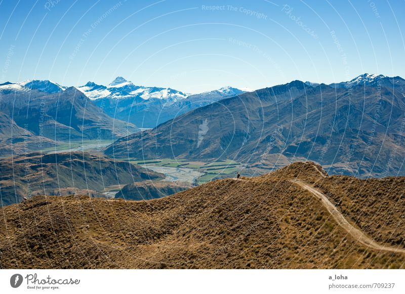 i am the mountain Hiking Masculine 1 Human being Nature Landscape Elements Cloudless sky Horizon Summer Beautiful weather Grass Hill Rock Alps Mountain Peak