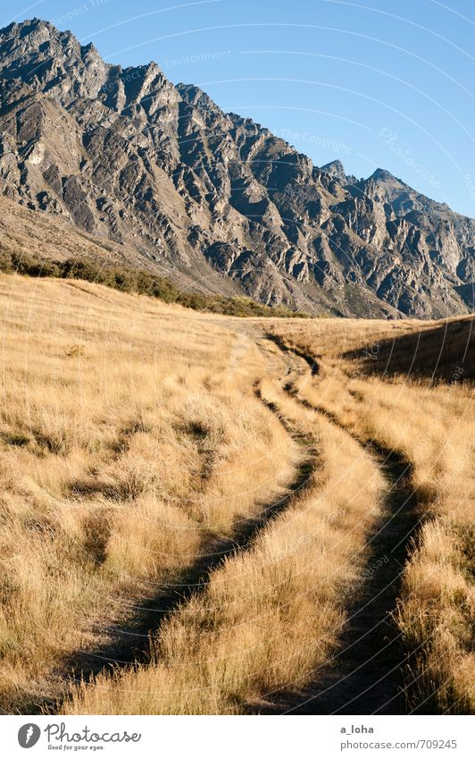 The Remarkables Environment Nature Landscape Elements Earth Sky Cloudless sky Summer Beautiful weather Grass Rock Mountain Peak Lanes & trails Blue Brown