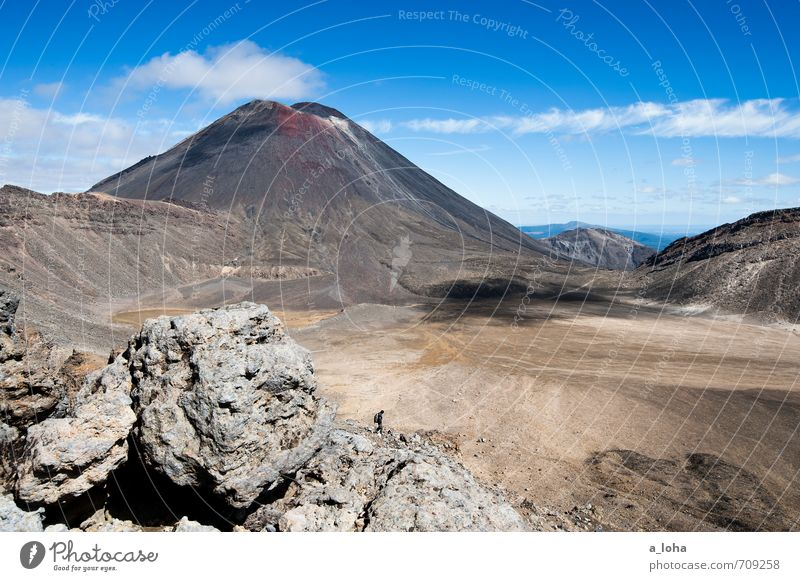2291 Hiking Human being Masculine Nature Landscape Elements Earth Sand Sky Clouds Horizon Autumn Beautiful weather Rock Mountain Peak Volcano Famousness