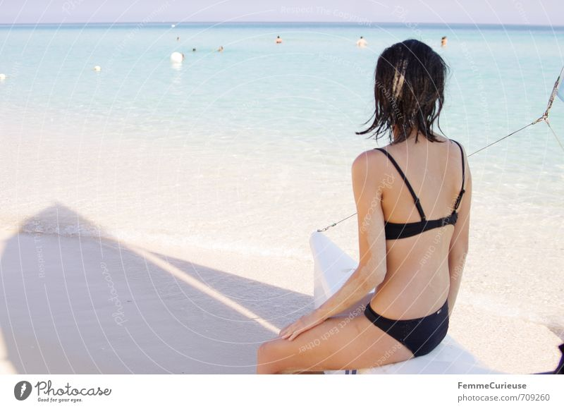 Beach time! (V) Feminine Young woman Youth (Young adults) Woman Adults Back 1 Human being 18 - 30 years Contentment Relaxation Bikini Black Sailing Watercraft