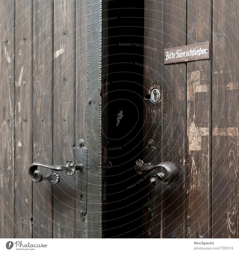 Wish & Reality Building Door Characters Signs and labeling Signage Warning sign Old Esthetic Dark Retro Brown Black Responsibility Dependability Conscientiously