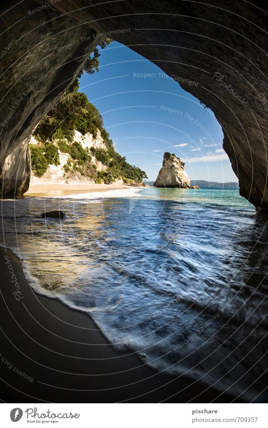 Vacation & Travel Beautiful Landscape Beach Environment Coast Rock Beautiful weather Adventure Bay Exotic New Zealand Cathedral Cove