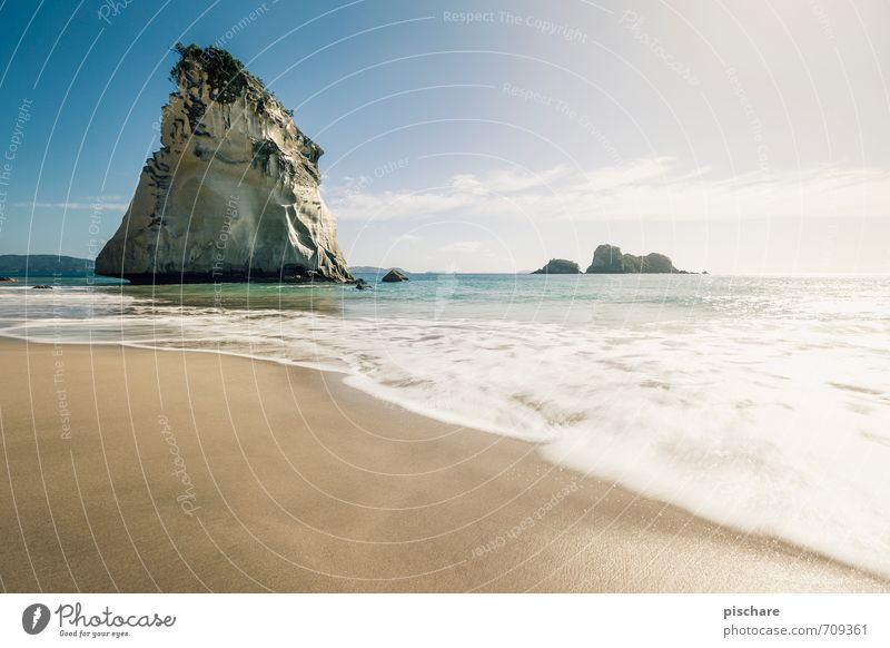 cathedral cove Landscape Sand Water Sky Beautiful weather Rock Coast Beach Exotic Adventure Vacation & Travel New Zealand Cathedral Cove Colour photo