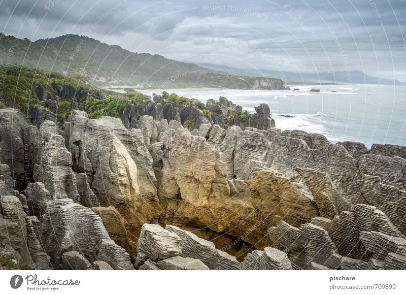 Nature Vacation & Travel Landscape Coast Exceptional Rock Adventure Exotic Bad weather New Zealand Pancake Rocks