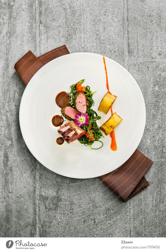saddle of lamb Meat Vegetable Herbs and spices Dinner Italian Food Plate Esthetic Elegant Fresh Healthy Clean Multicoloured Decadence Design To enjoy Luxury