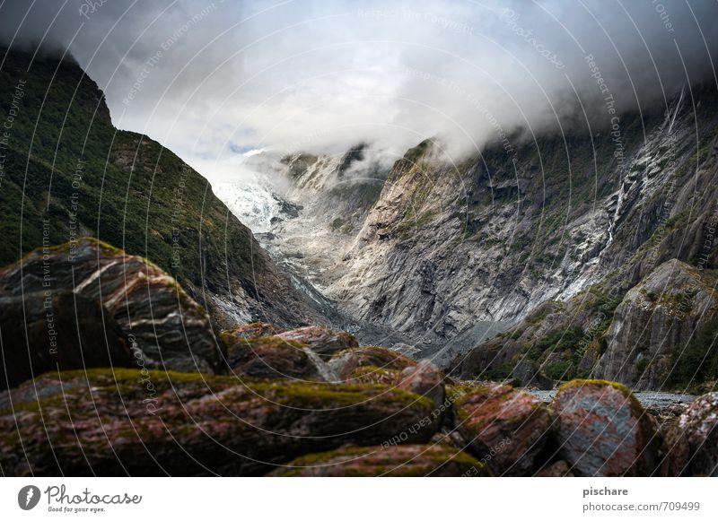 Nature Landscape Dark Mountain Rock Adventure Alps Snowcapped peak Sharp-edged Glacier Bad weather New Zealand
