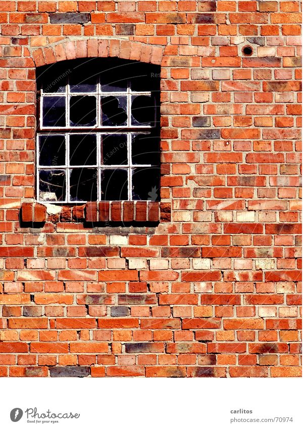 Red Window Stone Wall (barrier) Glass Brick Decline Craft (trade) Redecorate Seam Handcrafts