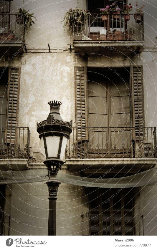 Flower City House (Residential Structure) Street Lamp Wall (building) Window Lantern Barcelona Pot Flowerpot Shutter