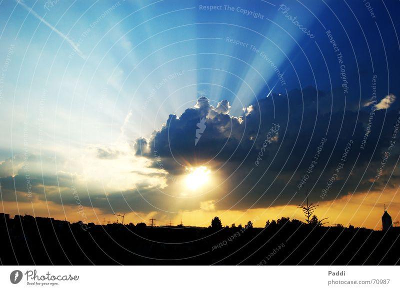 Sky over Albstadt Clouds Deities Back-light Sunset Sunbeam Blue Abstract God Weather Lighting Contrast