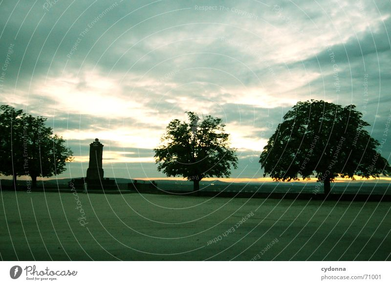Nature Sky Tree Summer Calm Clouds Loneliness Dark Garden Park Landscape Moody Architecture Vantage point Monument Manmade structures