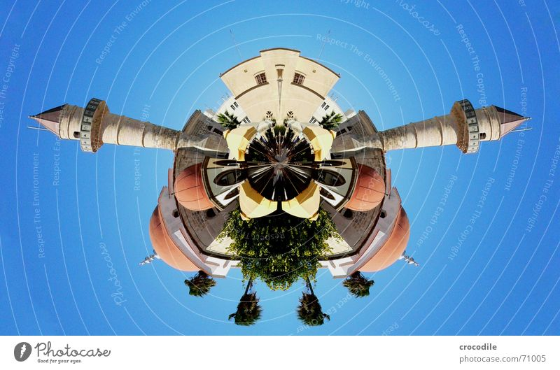 mosque 2 Roof Domed roof Tree Palm tree Wall (barrier) Café Insect Double exposure inversely Tower Point Sky Blue minaret Umbrella Human being Image editing