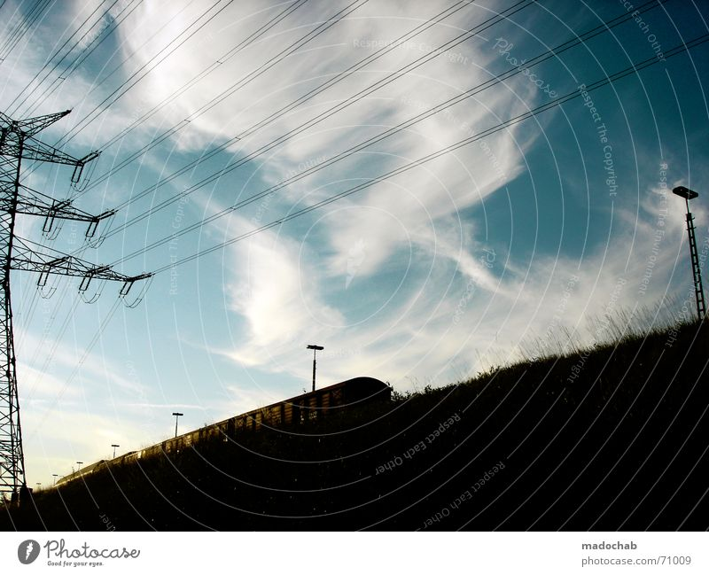 Sky Sun Summer Clouds Line Power Energy industry Railroad Electricity Cable Romance Industrial Photography Railroad tracks High voltage power line