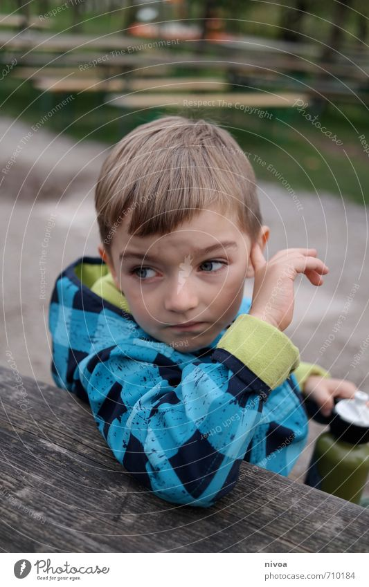 Human being Child Nature Blue Hand Autumn Lanes & trails Boy (child) Grass Hair and hairstyles Think Head Brown Garden Park Leisure and hobbies
