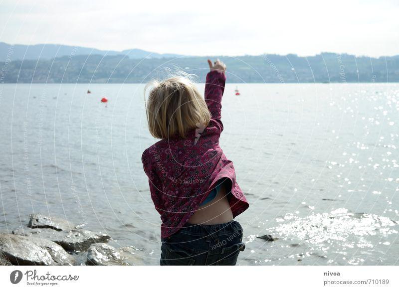 Human being Child Nature Water Sun Mountain Feminine Movement Coast Spring Stone Head Waves Infancy Blonde Arm
