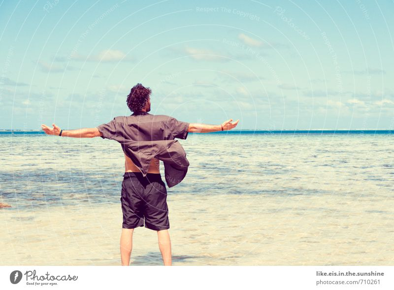 Human being Youth (Young adults) Vacation & Travel Man Summer Ocean Far-off places Beach Young man Adults Life Freedom Happy Leisure and hobbies Masculine Waves