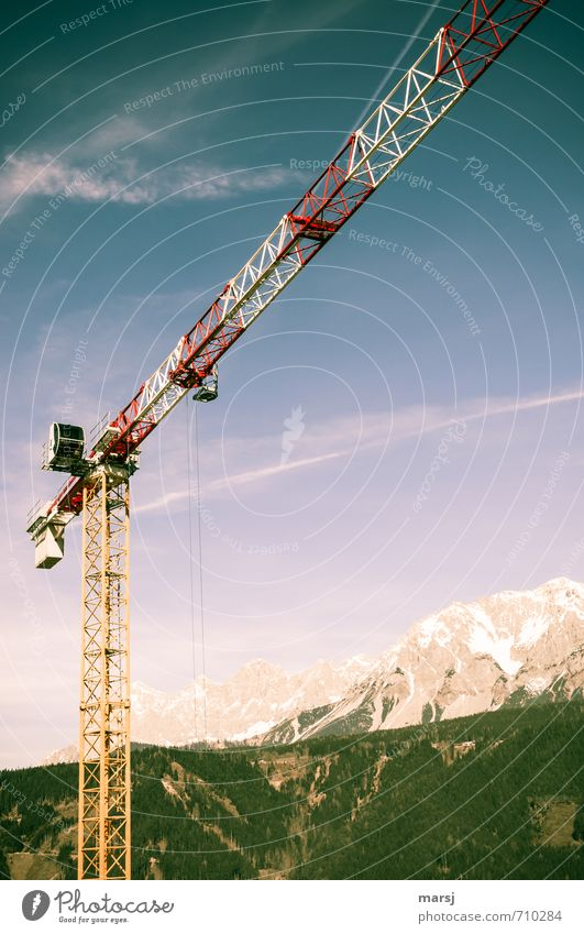 High up in the sky Workplace Construction site Sky Clouds Spring Summer Alps Peak Snowcapped peak Steel Simple Success Uniqueness Multicoloured Crane Outrigger