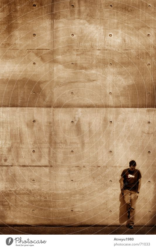 waiting for... Stand Wall (building) Wall (barrier) Concrete Lean Wait Sepia atreyu