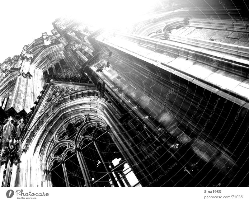 To heaven Cologne Black White Gothic period Window Curlicue Ornament Dome Black & white photo Tall Religion and faith ecclesiastical Sky Bright Sun Architecture