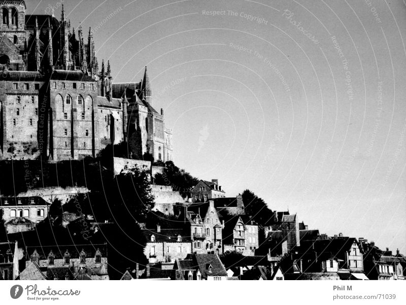 Saint Michel Mont St Michel Europe France Normandie Beautiful Black White Gray scale value Infrared Order Monastery World heritage Gothic period Exterior shot