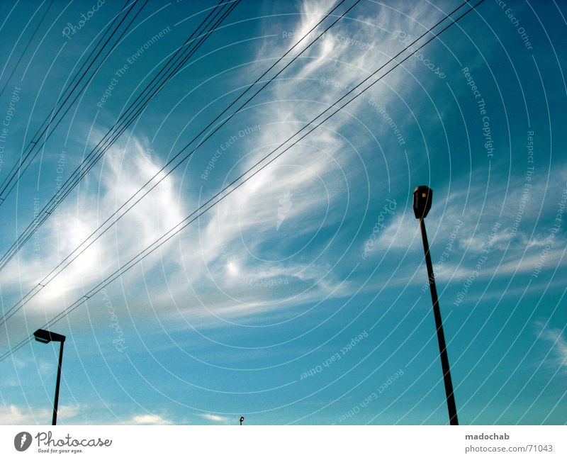Sky Blue Clouds Playing Line Romance 3 Stripe Cable Lantern Relationship Direction Partner Single Left Right
