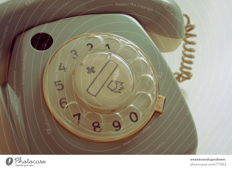gotten rid of Telephone Rotary dial Gray Old-school Retro Seventies Archaic Style Decoration Lie Yellowed Out of service Broken ring ring Digits and numbers