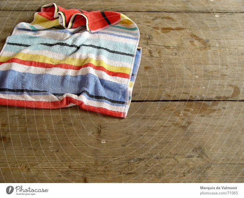 bathing day Towel Bathroom Bath towel Floorboards Wooden floor Wet Footprint Cloth Stripe Dry Clean Damp Furrow Swimming & Bathing Floor covering Water