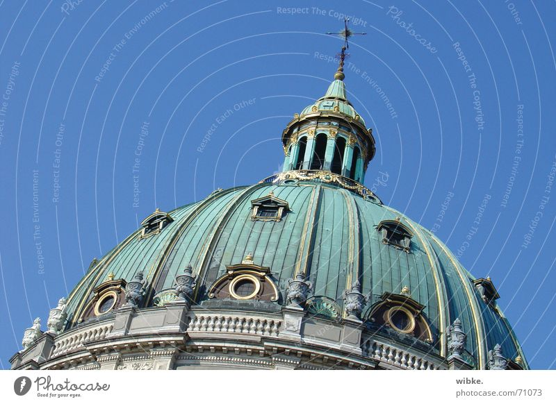 Blue Green Europe Dome Capital city Blue sky Denmark Famousness Cloudless sky Domed roof Port City Copenhagen