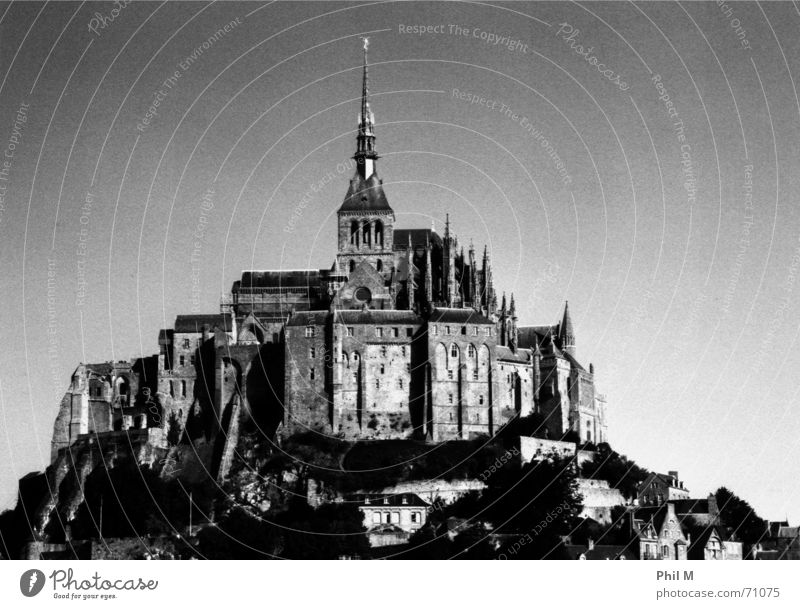 Saint Michel II Mont St Michel Europe France Normandie Beautiful Black White Gray scale value Infrared Monastery World heritage Gothic period Exterior shot Old