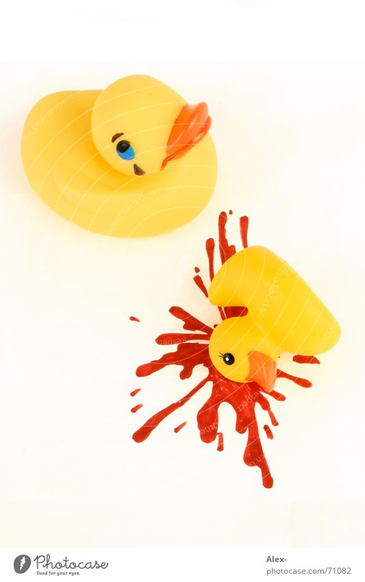 Yellow Death Sadness Funny Grief Cute End Kitsch Plastic Toys Duck Blood Accident Past Cry Inject