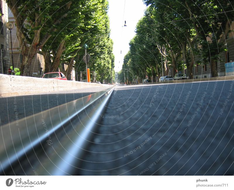 roma_ Rome Tram Railroad tracks Vanishing point Means of transport Open Transport Public transit Europe Earth Floor covering Perspective Distorted rails