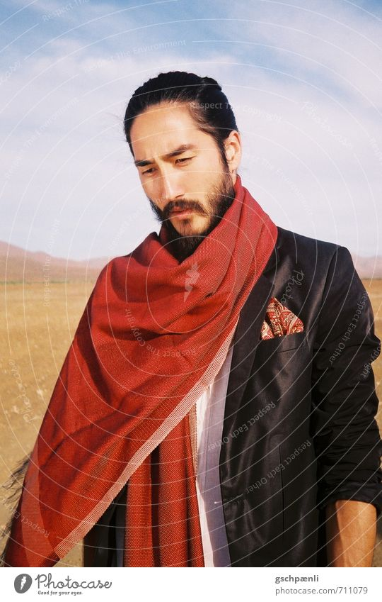 Red in the desert Man Adults Facial hair 1 Human being Landscape Sand Beautiful weather Drought Fashion Suit Scarf Black-haired Beard Dream Sadness Esthetic